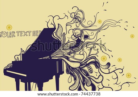 Grand Piano Shape Template Music background with a grand