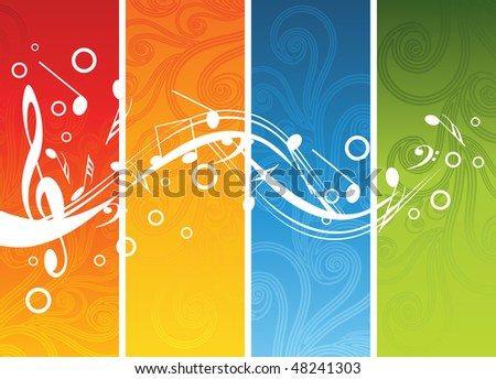 Music background with different notes on different colors