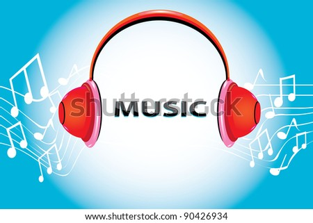 Music background with headphone and notes. Vector illustration.