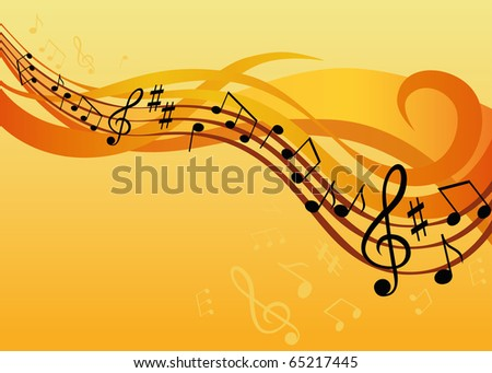 music background  with notes and treble clef - stock vector