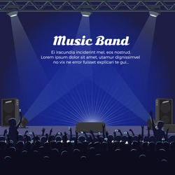 Music band concert at big stage with spotlights, powerful sneakers and audience room with people who raise hands and cellphones vector illustration.
