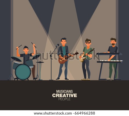 music band group of young rock