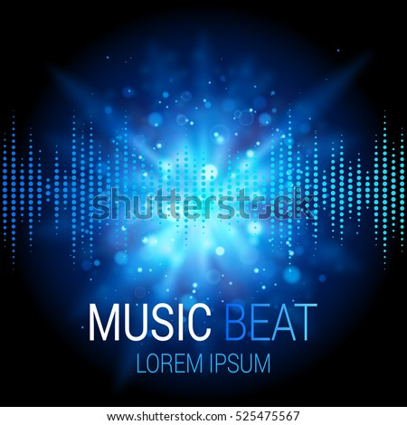 Music beat vector. Blue lights background. Abstract equalizer. Sound Wave. Audio equalizer technology. Detailed vector bokeh. Space For Text.