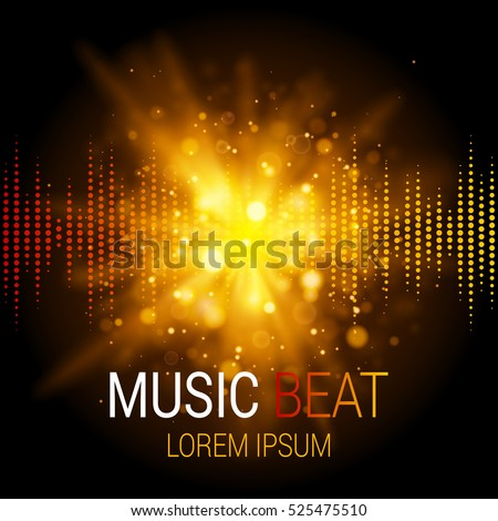 Music beat vector. Golden lights background. Abstract equalizer. Sound Wave. Audio equalizer technology. Abstract explosion. Detailed vector bokeh. Space For Text.