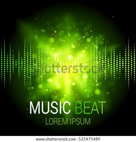 music beat vector green lights
