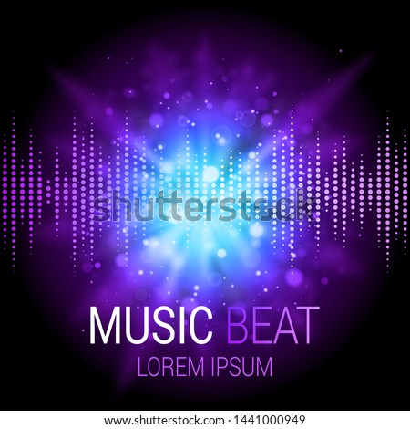 Music beat vector. Purple and blue lights background. Abstract equalizer. Sound Wave. Audio equalizer technology. Abstract explosion. Detailed vector bokeh. Space For Text.