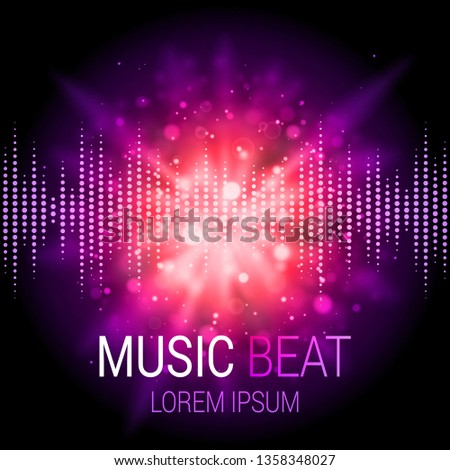 Music beat vector. Purple lights background. Abstract equalizer. Sound Wave. Audio equalizer technology. Abstract explosion. Detailed vector bokeh. Space For Text.