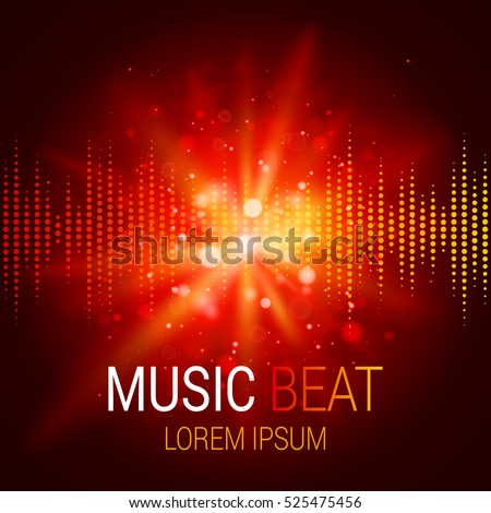 music beat vector red lights