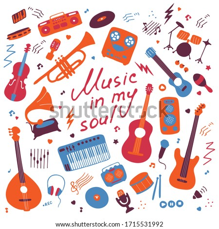 Music. Big set of icons for print and digital. Doodle elements of musical instruments. Hand written inscription Music in my soul. Vector Stock foto ©