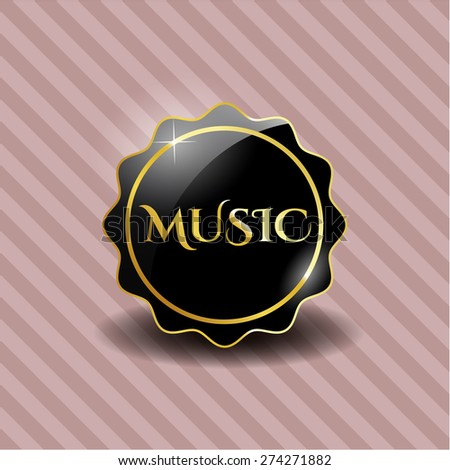 Music black shiny badge with pink background