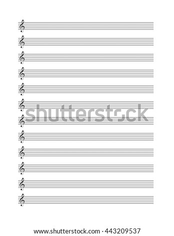 Music blank note stave.  Vertical music books.
