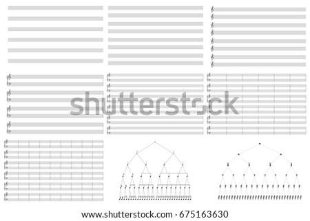 Music blank note stave. Vertical music books. Musical pause duration scheme. Musical note duration scheme.