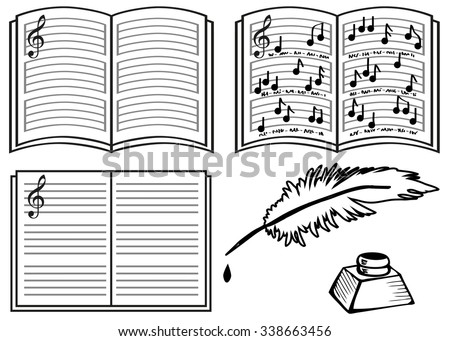music books with lines  notes