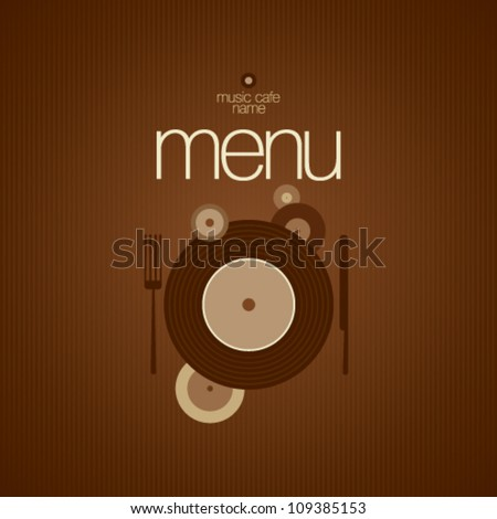 Music Cafe Menu Card Design template.