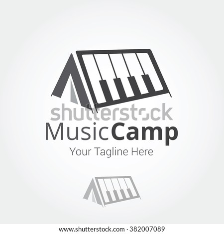 music camp piano logo template