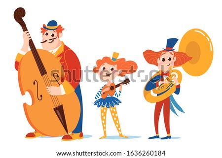 Music cartoon vector characters play jazz music. Double bass player, gutar player and tuba player.
