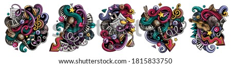 Music cartoon vector doodle designs set. Colorful detailed compositions with lot of musical objects and symbols. Isolated on white illustrations