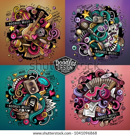Music cartoon vector doodle illustration. Colorful detailed designs with lot of objects and symbols. 4 composition set. All elements separate