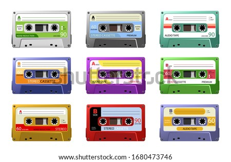 Music cassettes. Retro dj sound tape, 1980s rave party stereo mix, old school record technology. Web graphics, banners, advertisements, stickers