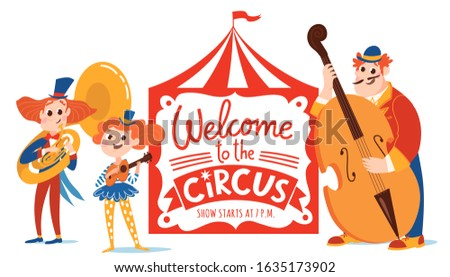 Music Circus vector poster design with funny cartoon musicians characters and hand lettering. Double bass player, gutar player and tuba player.