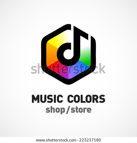 Music colors logo template Colorful hex sign