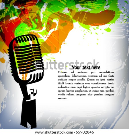 Music concept grunge background, microphone