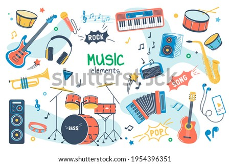 Music concept isolated elements set. Bundle of song creation and recording, guitar, drums, keyboards, saxophone, microphone, headphones, musical instruments. Vector illustration in flat cartoon design Photo stock ©