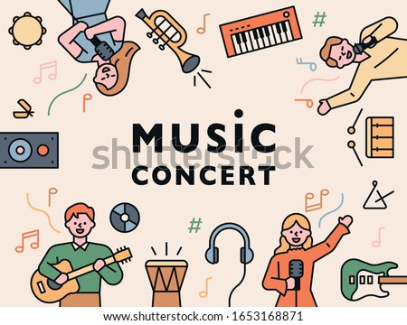 Music concert poster. Musicians and instruments are arranged in a circle around the letters. flat design style minimal vector illustration.