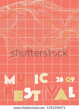 Music cover in blue, cyan, pink, orange colors. School concert flyer. Minimal line brochure. Amplitude layout. Vibration audio cover. Media party ads. Vintage wave template.