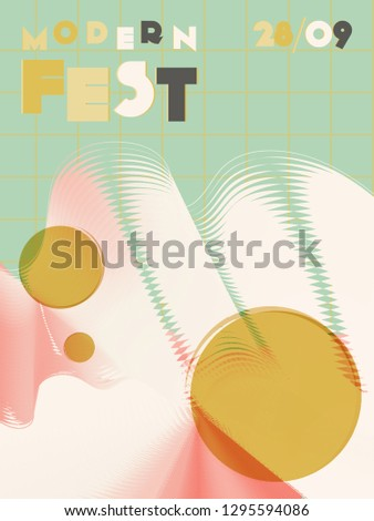 Music cover in green, yellow, black, white colors. Rock concert flyer. Minimal line brochure. Amplitude layout. Abstract summer gradient. Media party ads. Vintage wave template.