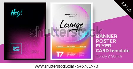 Music Covers for Summer Electronic Fest or Club Party Flyer. Lounge, Minimal, Techno, Deep Dark Styles. Template for DJ Poster, Web Banner, Pop-Up.