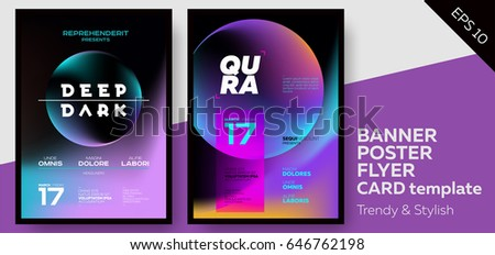 Music Covers for Summer Electronic Fest or Club Party Flyer. Minimal, Techno, Deep Dark Styles. Template for DJ Poster, Web Banner, Pop-Up.