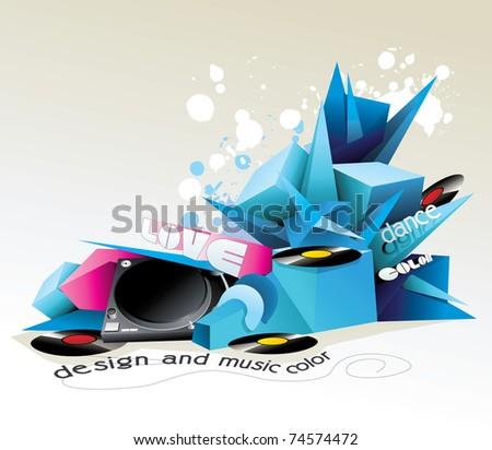 music 3d shape vector