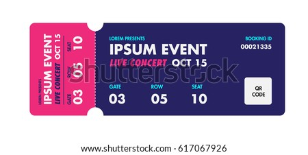 Music, Dance, Live Concert entrance vector tickets templates. Ticket for entrance to the event. Modern elegant illustration template of Ticket Card