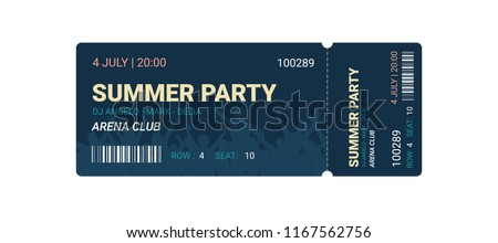 Music, Dance, party, Live Concert entrance vector tickets templates. Ticket for entrance to the event. Modern elegant illustration template of Ticket Card