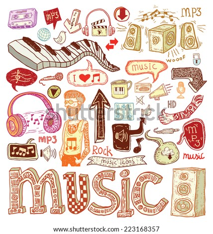 music doodle collection  hand
