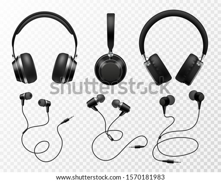 Music earphones. Black headphone, gaming headset. Audio gadget with speaker, wireless mobile earbuds isolated 3d vector technology studio accessories set