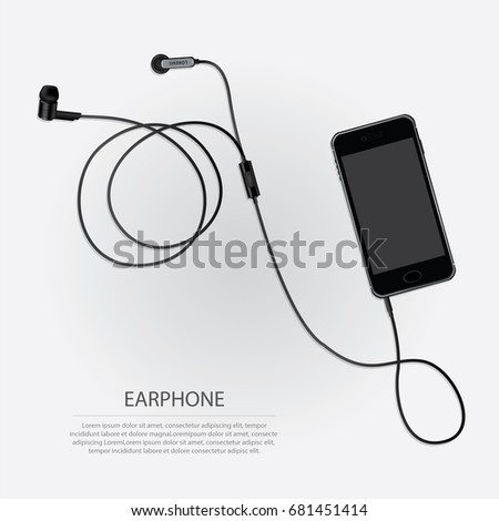 Music Earphones with Telephone vector illustration