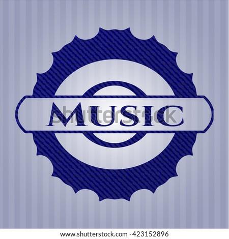 Music emblem with denim high quality background