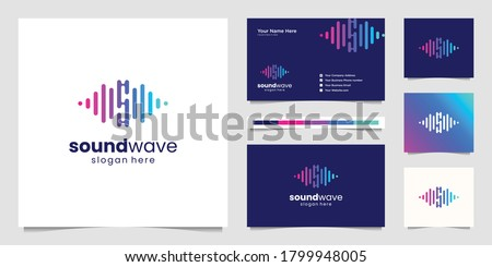 Music equalizer logo. Electronic audio icon. Music wave sign. Vector illustration logo. Music application icon. Player music logos with minimal line art pulse.