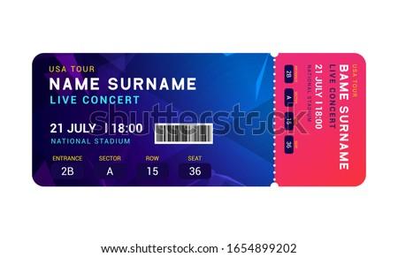 Music event concert ticket template. Ticket party design flyer pass ticket.