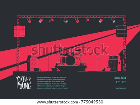 Music Event Design Concept. Music Stage Equipment Flat Illustration. Rock Poster Template with Drums and Guitar Amplifiers on Stage.