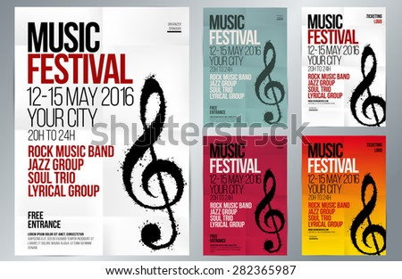 Music Event Design. Suitable For Poster, Promotional Flyer, Invitation,  Banner Or Magazine