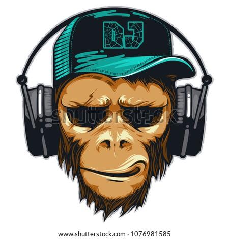 Music fan hipster monkey in headphone. DJ chimpanzee