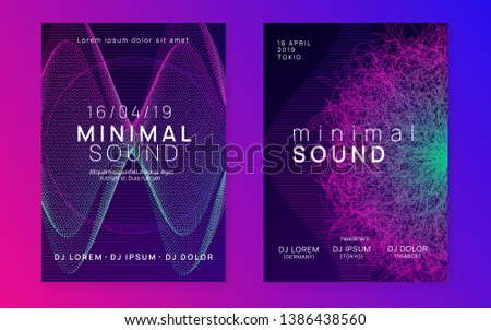 Music fest. Cool concert magazine set. Dynamic gradient shape and line. Music fest neon flyer. Electro dance. Electronic trance sound. Techno dj party. Club event poster.