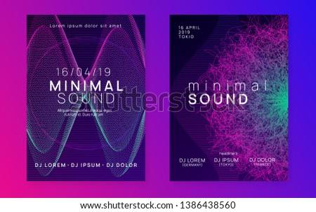Music fest. Cool concert magazine set. Dynamic gradient shape and line. Music fest neon flyer. Electro dance. Electronic trance sound. Techno dj party. Club event poster.