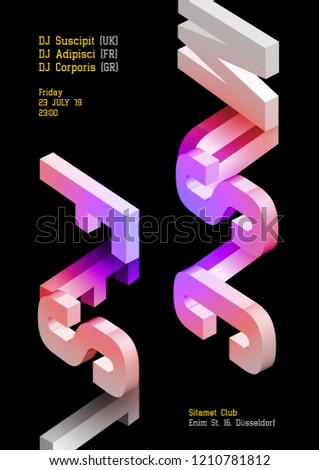 Music Fest Vector Dark Poster. Electronic DJ Music Cover for Summer Festival or Night Club Party Flyer. Isometric Event Background. Trendy Geometric Shapes. Vertical Orientation. Techno, Dub, Dubstep.
