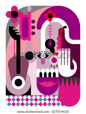 Music Festival - abstract vector illustration. Color poster, placard. Design background.