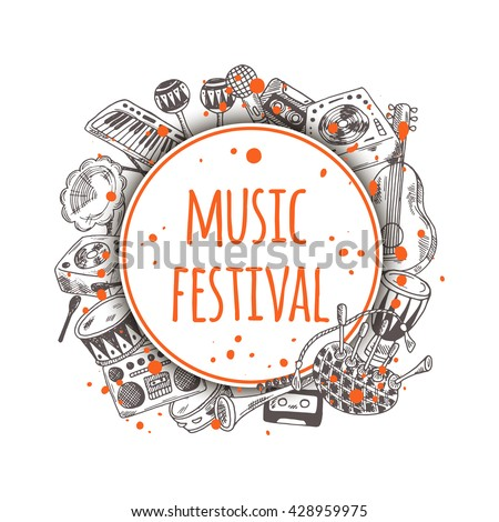 Music festival. Colorful background with music instruments. Round circle composition. Hand drawn vector illustration. Guitar, domra, gramophone, bagpipe, microphone, maracas, cassette, piano and other