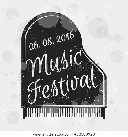 Music festival concert piano. musical instrument. vector illustration.